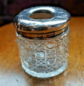 ANTIQUE CUT GLASS STERLING SILVER TOPPED JAR