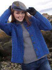 Cable Knit Sweater Merino Wool S M L XL Collared Buttoned Aran Irish Ireland