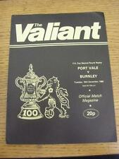 16/12/1980 Port Vale v Burnley [FA Cup Replay] . Item in very good condition, un