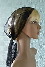 Black Goth style bandana, ,gothic hair scarf, headband with spiders and webs