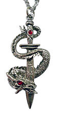 Mystical Gothic Dragon Wrapped Around Sword Pewter Pendant Necklace NK-483