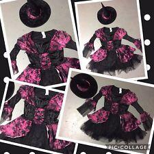 Girls Purple Black Witch Halloween costume Hat Dress Up Juniors LARGE 12 14