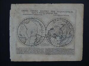 1628 BERTIUS  Atlas TAVERNIER  WORLD POLAR MAP - Orbis Stans Sectus Aequatorem