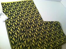 MICHAEL KORS Signature MK Logo Lemon Charcoal Gray Scarf $58