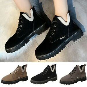 Women Outdoor Boots Lace Up Anti Slip Shoes Autumn Warm Thick Sole Ankle Boots