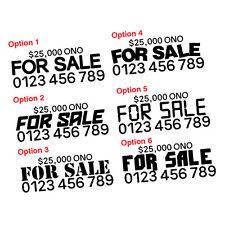 CUSTOM FOR SALE PHONE NUM & PRICE MEDIUM STICKER Decal Car Vinyl Personalized...