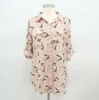 Karl Lagerfeld Blouse Shirt Top Womens S Blush Pink Eiffel Tower Sunglasses
