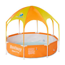Bestway 8ft x 20in Splash in Shade Kids Spray Play Swimming Pool with UV Canopy