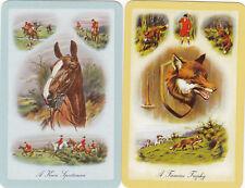 #136  2(pair) vintage single playing swap cards -ENN  Horse & Hunting -  JS