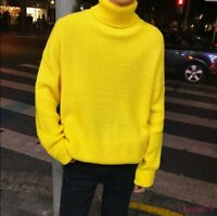 Men's Knitted High Neck Pullover Solid Sweater Loose Casual Turtleneck Tops chic