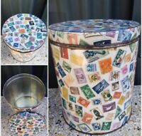 Vintage Willow 'Stamps of the World' Canister Tin