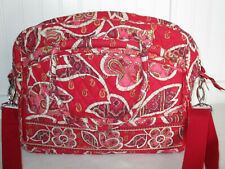 Vera Bradley Large Tote/ Travel / Shoulder Bag, Floral / Paisley / Red, 12 x 15""