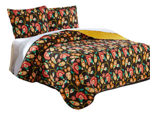 DaDa Bedding Bohemian Floral Honey Yellow Brown Quilt Bedspread Set - Cal King