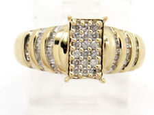 Square Top Right Hand Ring .80ct 10k Yellow Gold Round and Baguette Diamond