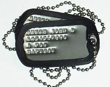 Custom Dog Tag Set Army USMC Stainless Set, Silencers, & Chain Made to Order