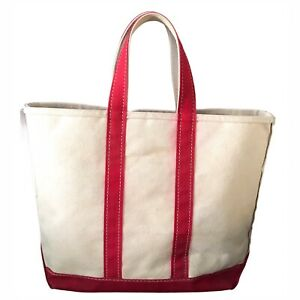 "LL Bean Canvas Tote Bag Red Natural Large 16""x13"" AS IS"