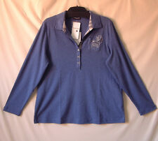 Samoon Poloshirt Gerry Weber blau (IndigoMelange) Baumwolle Polo Shirt Neu Gr.50