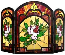 """42"""" Victorian Floral Tiffany Style Stained Glass Fireplace Screen 3PC Folding"""