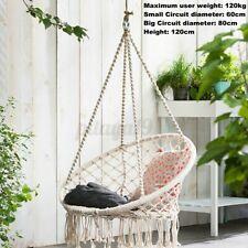 120cm Macrame Swing Hammock Chair Hanging Tassel Cotton Rope Outdoor Garden AU !