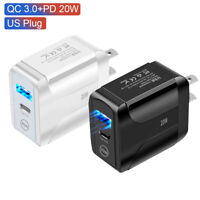 20W Fast Adapter Dual USB Hub Plug Quick Charger 3.0 Travel Type-C Phone Charge
