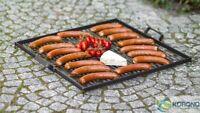 Korono Edelstahl Grillrost mit Handgriff aus Stahl - drei Größen, Handmade