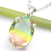 Jewelry Gift Rectangle Bi-Color Tourmaline Gemstone Silver Necklace Pendants