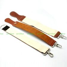 3Pcs Barber Shaving Genuine Leather Pure Canvas Strop 2 Layers Sharpener Strap