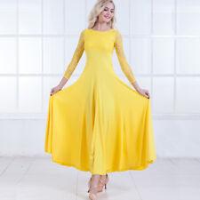 Latin Ballroom Dance Dress Modern Salsa Waltz Standard Long Dress#FM059 3 Colors