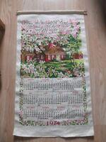 Vintage 1974 Cloth Tapestry Wall Calendar