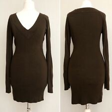 Jane Norman Women Long Jumper 8 10 Brown V Neck Knit Tunic Long Sleeve Soft Top