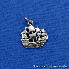 .925 Sterling Silver PIRATE SHIP CHARM Ocean Sea Christopher Columbus PENDANT