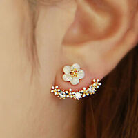 1Pair Elegant Women Crystal Rhinestone Ear Stud Daisy Flower Earrings Jewelry