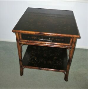 THEODORE ALEXANDER Chinoiserie Bamboo Square End Lamp Table Black Lacquer Asian