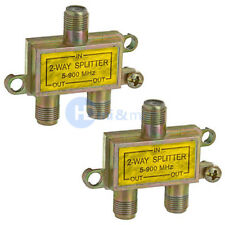 2 way Coax Splitter TV Coaxial Cable 1-in 2-out HDTV Signal 5-900 MHz - LOT of 2