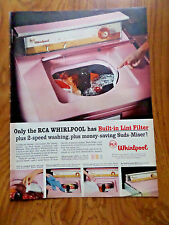 1957 RCA Whirlpool Washer Ad Built-in Lint Filter