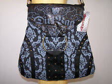 DIRT BAG IRON FIST EMO PUNK ROCK CHICK DEMONIA LOUNGEFLY HANDBAG BLACK GREY STUD