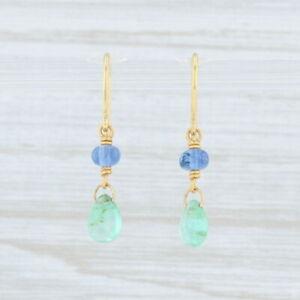 Artisan Emerald Tanzanite Bead Earrings 14k Yellow Gold Dangle Hook Posts