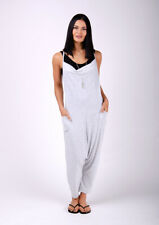 Jersey Jumpsuit - Grey Lightweight Harem Pants Stretch Relaxed Fit Playsuit