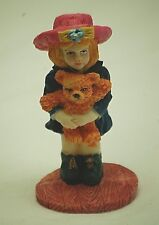 Little Girl w Pink Hat & Teddy Bear Toy Resin Figurine Shadow Box Shelf Decor