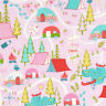 BTY TT CAMPING MAP on Pink Print 100% Cotton Quilt Craft Fabric by the YARD