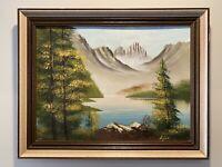 Vintage Signed & Framed Mountain River Landscape Scene Oil Painting by King