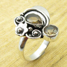 Dazzling Smoky Quartz DESIGNER Ring Size N ½ ! Silver Plated Metal Jewelry NEW