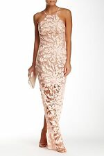 NEW! $418 ABS by Allen Schwartz Embroidered Lace Gown Apricot [SZ Small] #N300