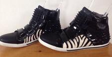 Aldo Black Studded Zebra Stripe Furry Patent Leather High Top Sneakers 8 41