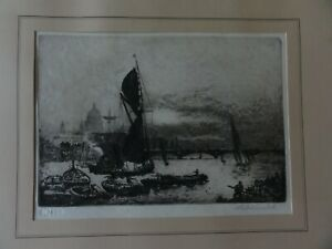 Andrew Watson Turnbull (1874-1957) River Thames Original Signed Etching