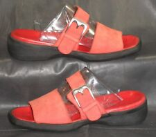 Bally Red leather open toe mules sandals Womens shoes size 3 1/2