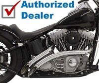 Bassani Chrome Radial Sweepers Exhaust Pipes w/ Heat Shields Harley Softail Dyna