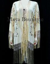 Silk Embroidered Fringe Jacket Kimono Flapper Coat Vanilla Maya Embroidery Coat