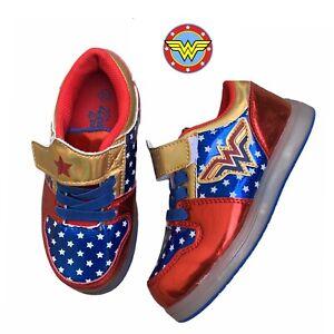 Wonder Woman Light-Up Athletic Metallic Tennis Shoes Girls Sneakers Size 10