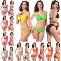 Sexy Hot 2PCS Flower Swimwear Set Swimsuit Bikini Push-up Halter Top+Bottom
